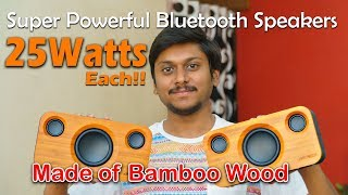 Bluetooth Speakers with Super Bass! They're made of Bamboo...