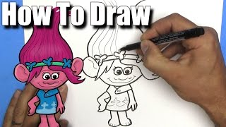How To Draw Poppy from The Trolls Movie - EASY - Step By Step