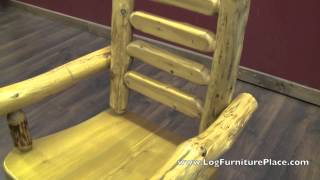 Cedar Lake Ladderback Arm & Side Log Dining Chairs From Logfurnitureplace.com