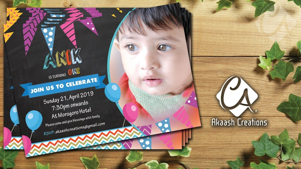 birthday invitation card with photo designing in photoshop creative invitation card for baby boy