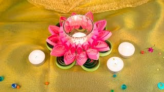 Handmade Diyas Made With Quilled Flower For Diwali