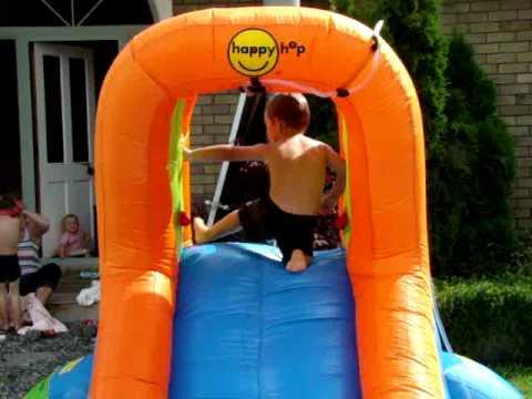 Happy hop water slide fun youtube for Happy hop inflatable water slide