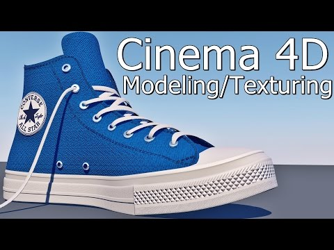 Cinema 4D shoes Modeling / texturing (converse all star chuck taylor 2) + Project File