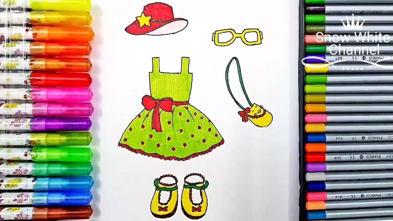 Dạy vẽ cho bé – Hướng dẫn bé vẽ thời trang xinh xắn – How to draw a dress step by step