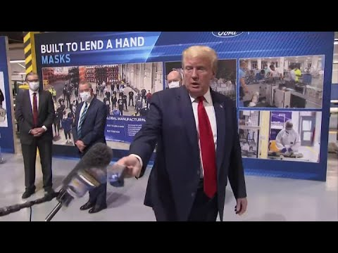 President Trump explains why he's not wearing a mask at Michigan Ford plant