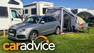 Audi Q3 Camping Tent Demonstration(http://www.caradvice.com.au/409925/audi-q3-2-0-tdi-quattro-sport-road-trip-and-camping-adventure/?yt_desc - Read the article here. Genuine car accessories ..., 2016-01-22T22:53:11.000Z)