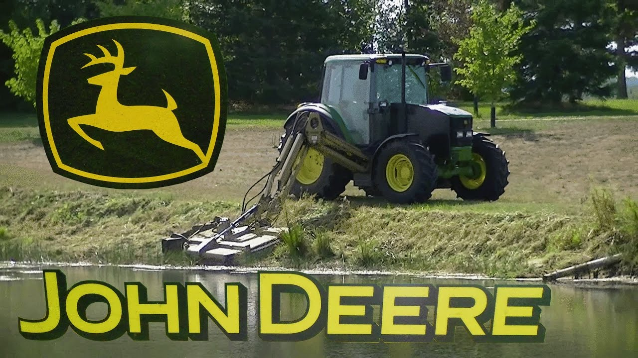 John Deere 6430 With A Land Pride Ditch Bank Mower Mowing