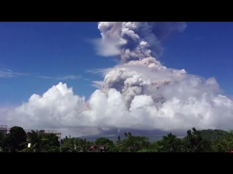 The Mayon volcano in the Philippines fires off a warning blast