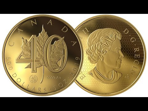 2019 5 OUNCE GOLD $500 COIN - 40TH ANNIVERSARY OF THE CANADIAN GOLD MAPLE LEAF