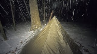 Micro Hot Tent on the Trail. Snow Storm. thumbnail