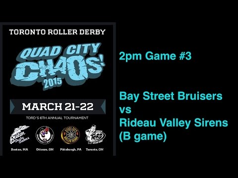 QCC2015 G3  Bay Street Bruisers v Rideau Valley Sirens (B game) Toronto Roller Derby