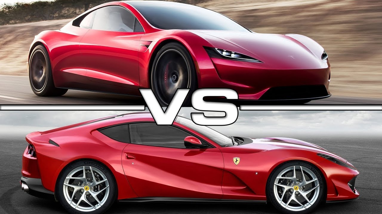 2020 tesla roadster vs 2018 ferrari 812 superfast