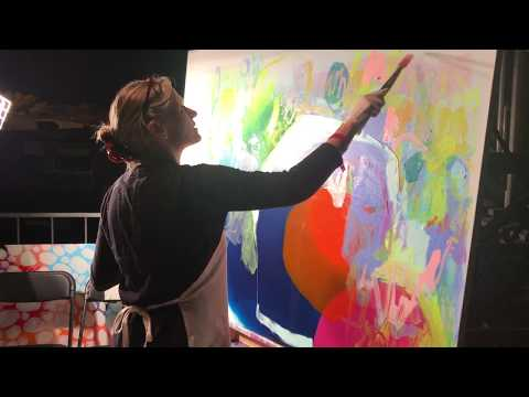 Abstract painter, artist Claire Desjardins live painting