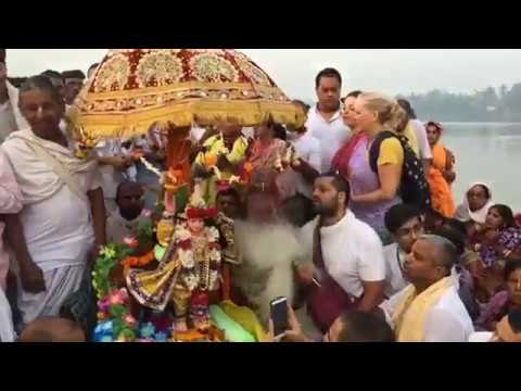 Mahaprabhu crossing the river Ganges . Going Mayapur on 25th feb, 2018
