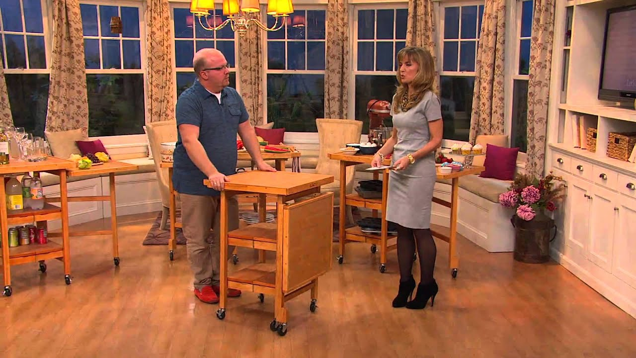 Folding Kitchen Island Cart >> Folding Island Expandable Hardwood Kitchen Cart with Jennifer Coffey - YouTube