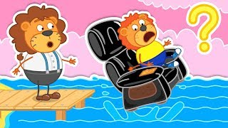 Lion Family Super Chair makes Massage Cartoon for Kids