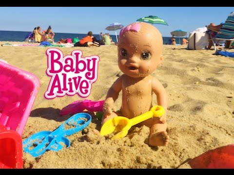 BABY ALIVE GOES TO THE BEACH & SWIMS IN OCEAN! | ThePlusSideOfThings