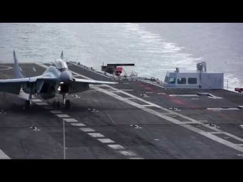 Slow motion HD video of MiG-29K landing to aircraft carrier