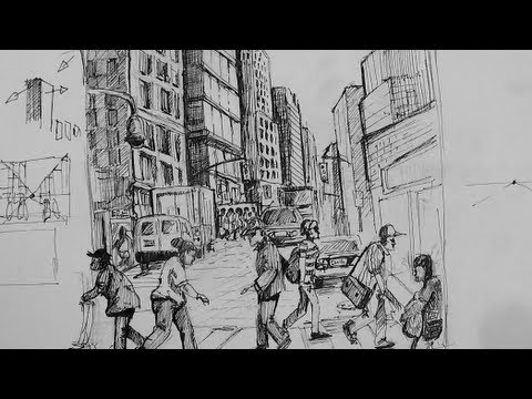 Pen & Ink Drawing Tutorials | How to draw a busy city Scene