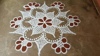 Navarathri special rangoli//flower padi kolam// pandaga muggulu// easy rangoli//28