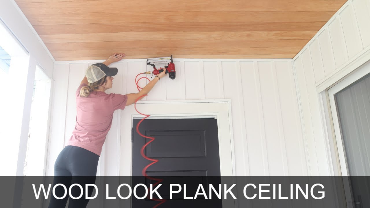 How to Plank a Ceiling By Yourself  Easy Plywood Shiplap Ceiling
