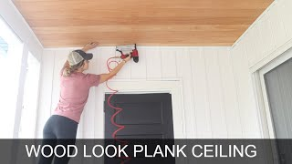 How to Plank a Ceiling By Yourself | Easy Plywood Shiplap Ceiling
