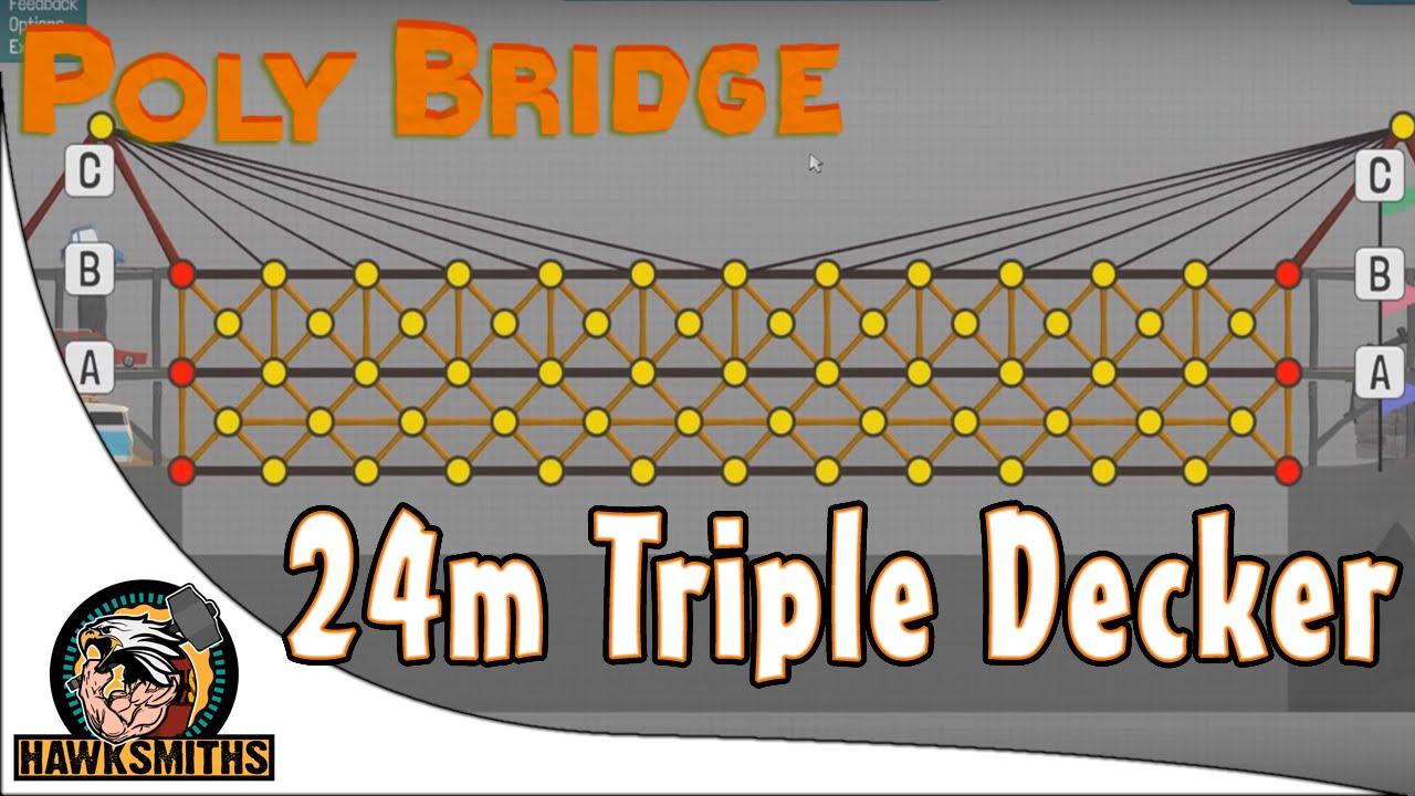 poly bridge 24m triple decker under budget solution youtube. Black Bedroom Furniture Sets. Home Design Ideas