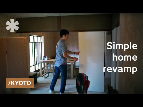 Plywood walls & moving doors adapt timeless Kyoto small home