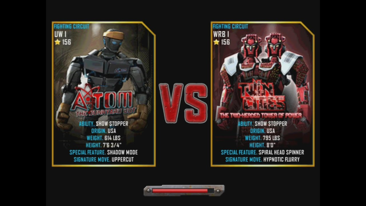 Wii Real Steel Wrb Atom Vs Twin Cities Champion New Graphics