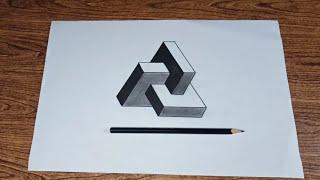 Cara menggambar 3d pola geometris mudah