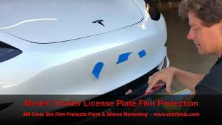 TESLA Model 3 Front License Plate Protection Film.  Permanent & Temporary Mounting Solution