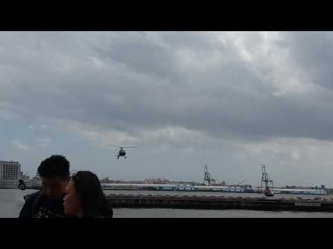 Tour Helicopter Coming In For A Landing At The South Street Seaport In Manhattan, New York
