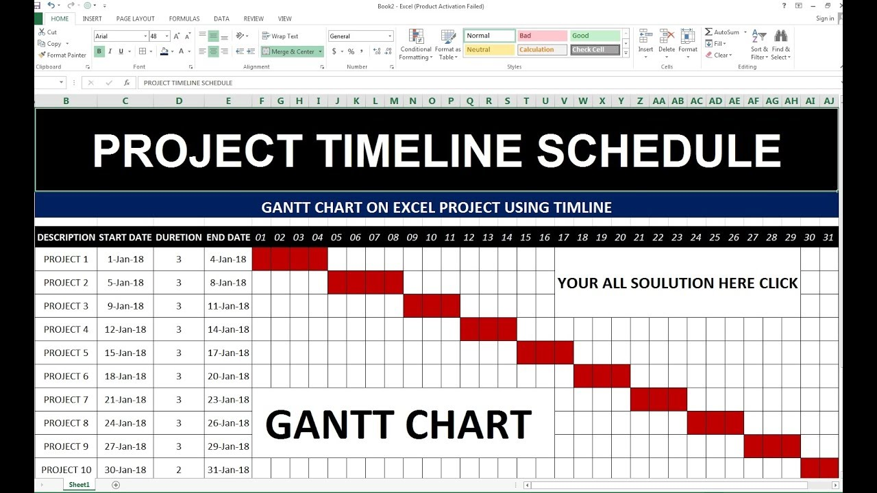 96 how to make project timeline schedule in excel hindi