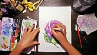 Рисуем акварелью цветок протеи. Drawing watercolor flower protea.