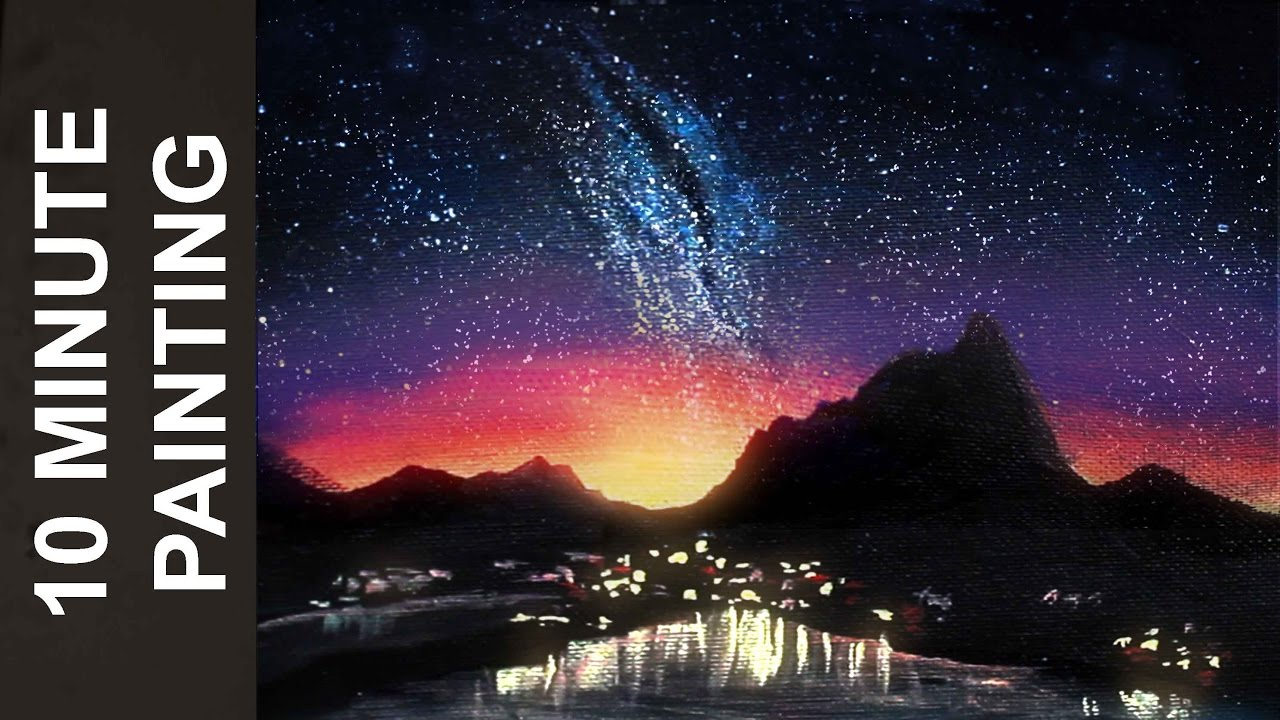 Painting a Night Sky atop a City Landscape with Acrylics in 10 ...