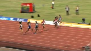 Women 100m final Birmingham Diamond League 2014 - Tori Bowie pulls up injured