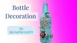 Bottle decorating ideas|Bottle Decoration ideas|Bottle art|Mixed media on glass bottle|bottle craft