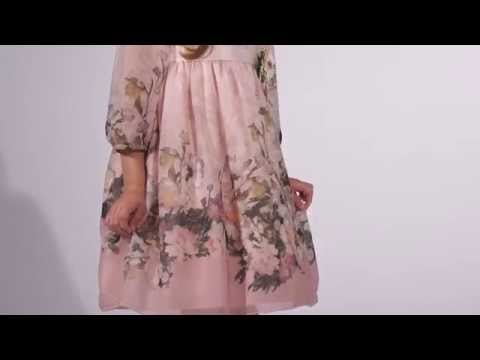 Gorgeous print floral chiffon dress with 3/4 and sheer sleeves