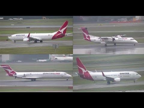 QANTAS Domestic Aircraft Rainy Planespotting At Brisbane Airport