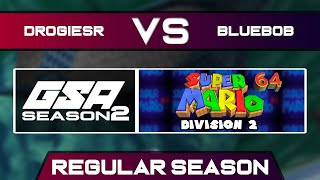 DrogieSR vs BlueBob | Regular Season | GSA SM64 70 Star Speedrun League D2 Season 2