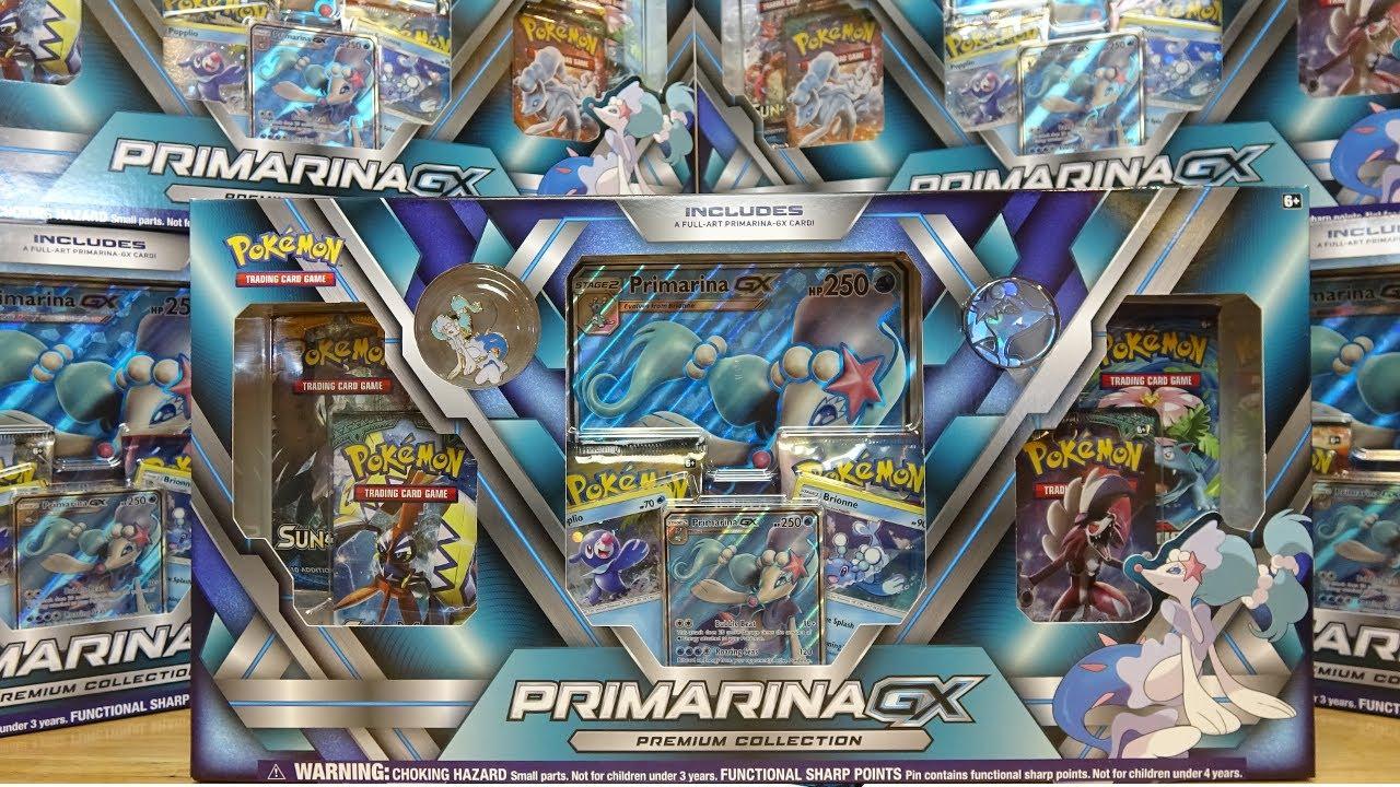 Pokemon TCG PRIMARINA GX PREMIUM COLLECTION Box Sun Moon Booster Packs Cards NEW Pokémon