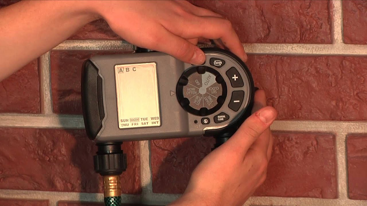 How To Program an Orbit Two Outlet Hose Faucet Timer (56544) - YouTube