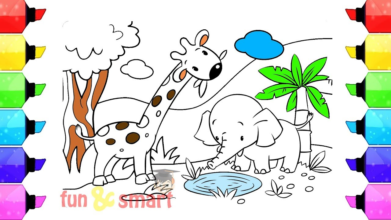 Cara Mewarnai Binatang Jerapah Dan Gajah