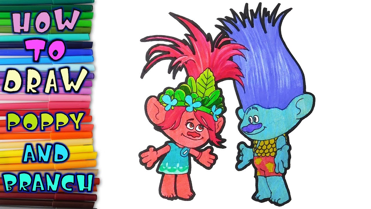 How To Draw Poppy And Branch From Trolls Learn To Draw Drawing Lessons Coloring Pages Youtube