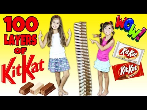 100 LAYERS of Kit Kat Challenge - 100 Layers of Chocolate Bars - TwoSistersToyStyle
