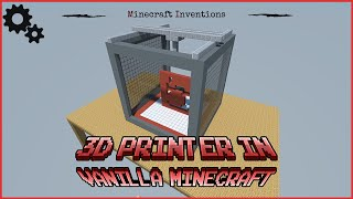 Repeat youtube video 3D printer in vanilla minecraft with realistic movment | 16x16x16 printing area