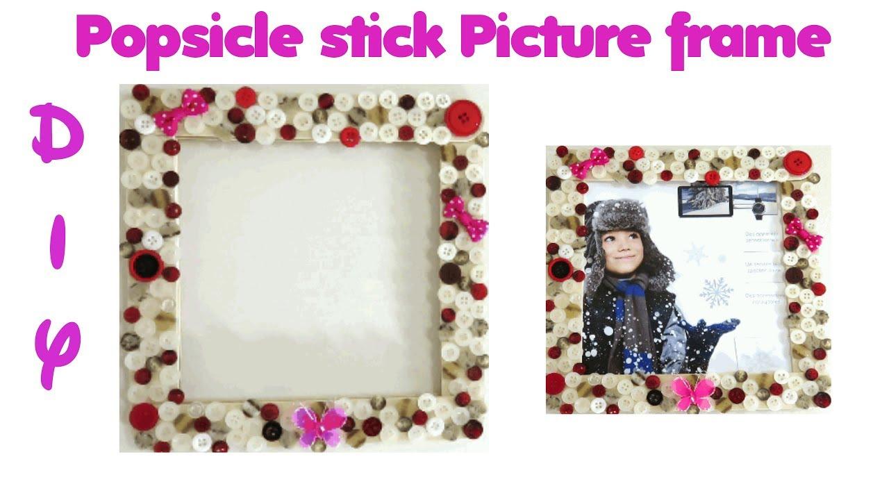 DIY: Popsicle stick Picture frame | Photo frame | Arts | Crafts ...