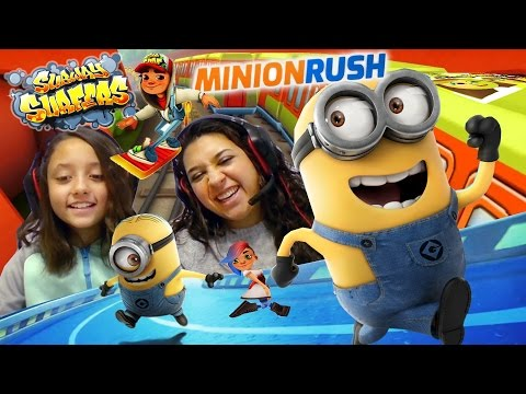 FGTEEV Mom & Lex play Minion Rush - Subway Surfers! Who can run longer?!?! Vs. Battle