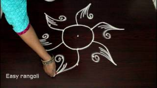 easy rangoli designs with 5 to 3 interlaced dots || muggulu designs || kolam