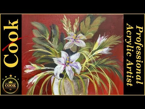 White Vase Flowers Acrylic Painting Tutorial for Beginner and Advanced Artists with Ginger Cook